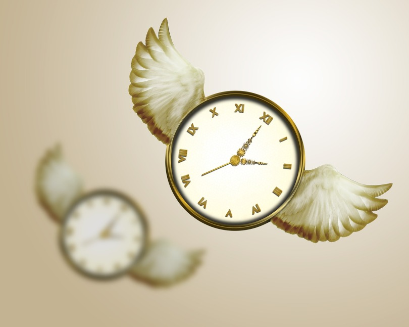 A clock with wings flying in the air, with another one in the background out of focus. The background is a blurry tan.