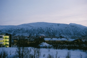 A view from campus, at noon in January.