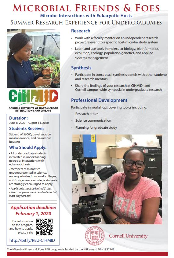 Poster describing The Cornell Institute of Host-Microbe Interactions and Disease (CIHMID) program for Microbial Friends and Foes Summer Program.