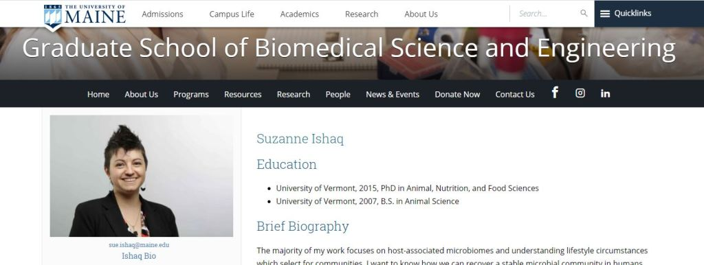 Screenshot of  Dr. Ishaq's faculty profile page on the University of Maine Graduate School of Biomedical Science and Engineering website.