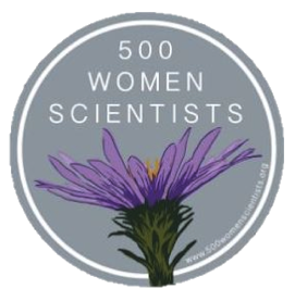 500 Women Scientists' logo of a flower and name of organization.