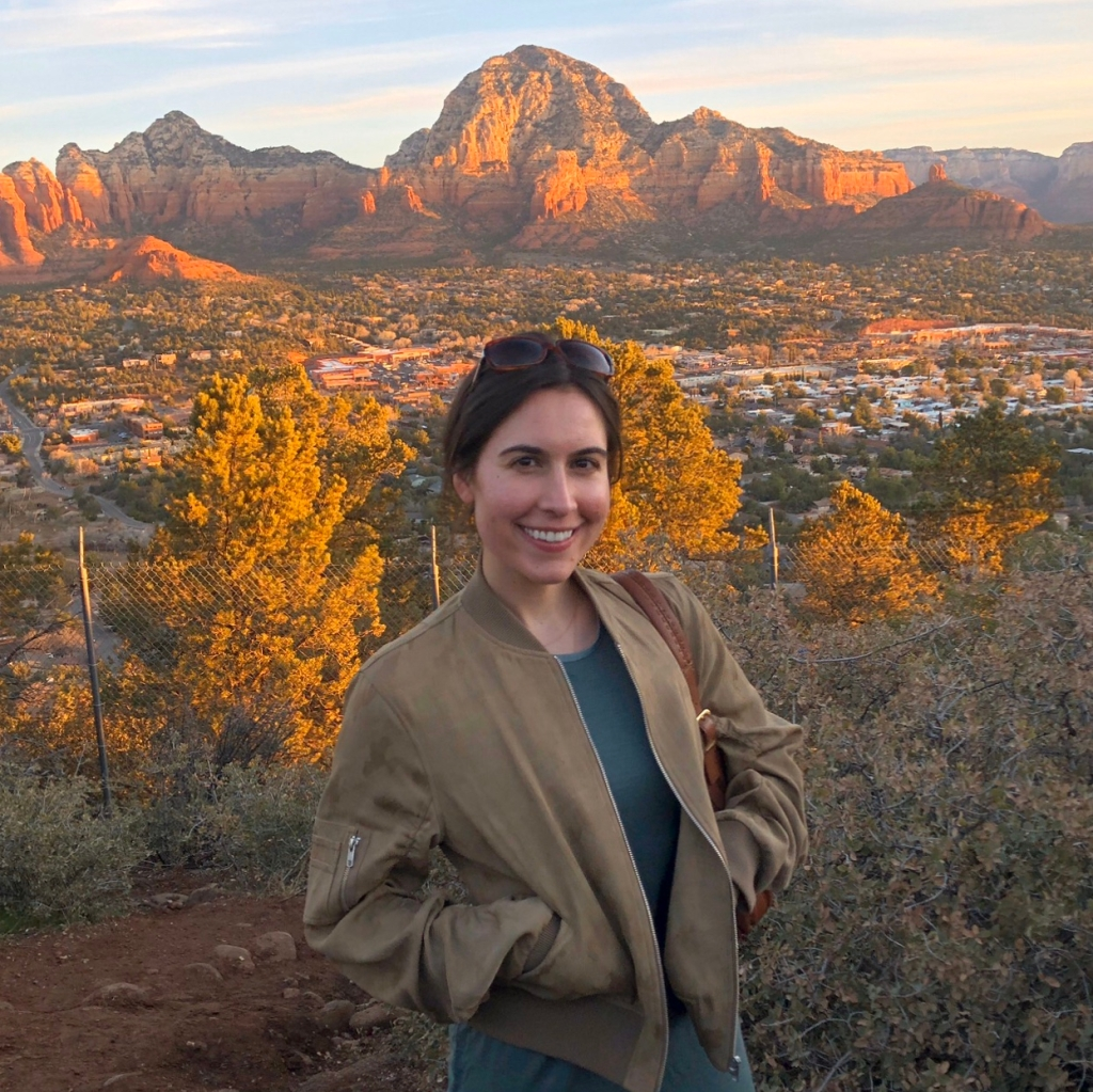 Picture of woman in front of desert mountains
