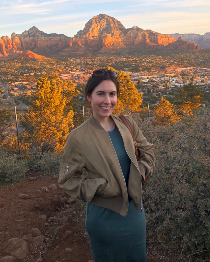 Alexandria Fahey standing in front of mountains