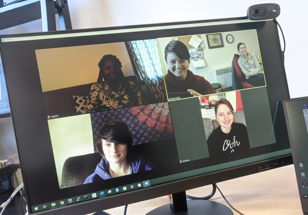 Screenshot of group meeting in a video conference call.