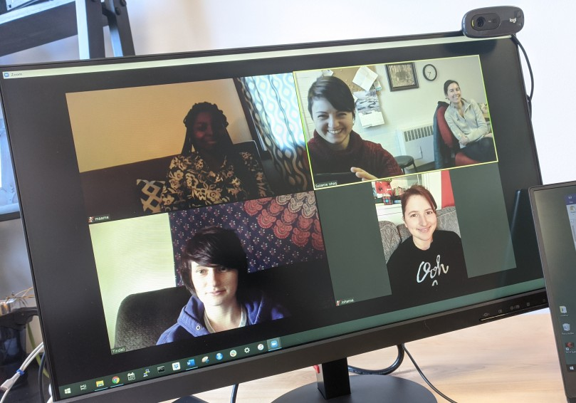 A screenshot from a virtual lab meeting, featuring 5 women.